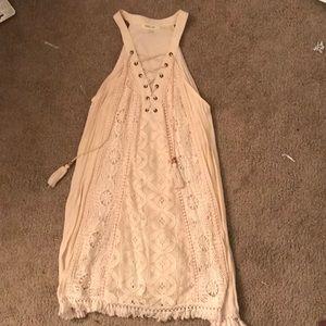 Off-white/cream dress small w/ lace up neckline